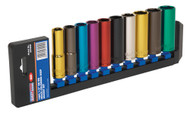 "Sealey AK288D Multi-Coloured Socket Set 10pc 1/2""Sq Drive 6pt Deep WallDriveå¬ Metric"