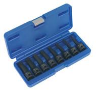 """Sealey AK5604 Impact Spline Socket Bit Set 8pc 1/2""""Sq Drive"""