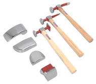 Sealey CB57 Deluxe Panel Beating Set 7pc Drop-Forged with Hickory Shafts