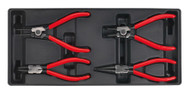 Sealey TBT03 Tool Tray with Circlip Pliers Set 4pc