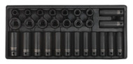 """Sealey TBT24 Tool Tray with Impact Socket Set 28pc 1/2""""Sq Drive - Metric"""