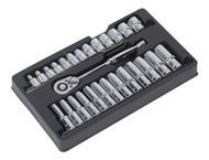 """Sealey AK66483 Ratchet Wrench & Socket Rail Set 27pc 1/2""""Sq Drive"""