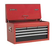 Sealey AP3606B Topchest 6 Drawer with Ball Bearing Runners Drop Front - Red/Black