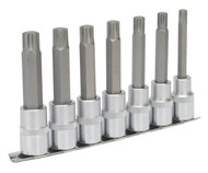 "Sealey AK6235 Ribe Socket Bit Set 7pc 1/2""Sq Drive 100mm"