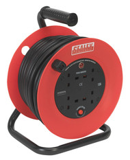 Sealey CR22525 Cable Reel 25mtr 4 x 230V 2.5mm_ Heavy-Duty Thermal Trip