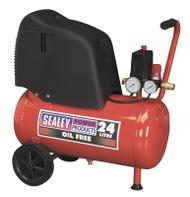 Sealey SAC02415 Compressor 24ltr Belt Drive 1.5hp Oil Free