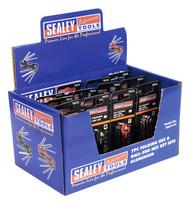 Sealey AK61315 Folding Hex & Ball-End Hex Key Sets 7pc Aluminium Display Box of 12