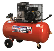 Sealey SAC0102B Compressor 100ltr Belt Drive 2hp with Cast Cylinders & Wheels