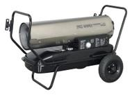 Sealey AB1008SS Space Warmerå¬ Paraffin/Kerosene/Diesel Heater 100,000Btu/hr with Wheels Stainless Steel
