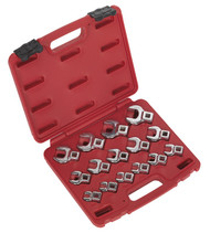 "Sealey AK59891 Crow's Foot Open End Spanner Set 15pc 3/8""Sq Drive Metric"