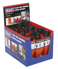 Sealey F12 Clip-On Funnel with Spout - Display Box of 12