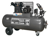 Sealey SAC3203B3PH Compressor 200ltr Belt Drive 3hp with Front Control Panel 415V-3ph