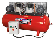 Sealey SAC5507575B Compressor 500ltr Belt Drive 2 x 7.5hp 3ph 2-Stage with Cast Cylinders