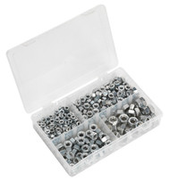 "Sealey AB029SN Steel Nut Assortment 320pc 1/4""-1/2""UNF DIN 934"