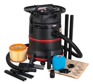 Sealey PC35230V Vacuum Cleaner Industrial Wet & Dry 35ltr 1200W/230V Plastic Drum M Class Filtration Self-Clean Filter & Auto Start