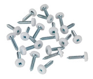 Sealey PTNP5 Number Plate Screw Plastic Enclosed Head åø4.8 x 24mm White Pack of 50