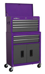 Sealey AP2200BBCP Topchest & Rollcab Combination 6 Drawer with Ball Bearing Runners - Purple/Grey