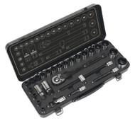 """Sealey AK7972 Socket Set 28pc 1/2""""Sq Drive 6pt WallDriveå¬ Metric Black Series"""