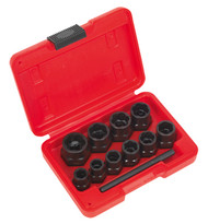 """Sealey AK8184 Bolt Extractor Set 11pc 3/8""""Sq Drive or Spanner"""