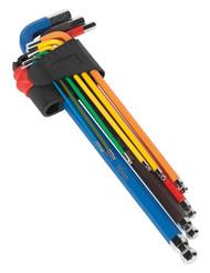 Sealey AK7191 Ball-End Hex Key Set 9pc Colour-Coded Extra-Long Metric