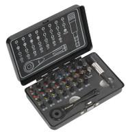 Sealey AK7975 Ratchet Driver & Impact Grade Torsion Bit Set 33pc Micro Premier Black Series