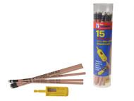 C H Hanson CHH02010 - Sure-Point Finish Carpenter's Pencils Tube of 15 + Pro-Sharp Sharpener