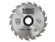 DEWALT DEWDT1148QZ - DT1148 Construction Circular Saw Blade 184 x 30mm x 18 Tooth Series 30