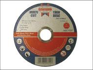 Faithfull FAI12510MUL - Multi-Cut Thin Cut Off Wheel 125mm x 1.0 x 22 Pack of 10