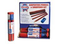 Faithfull FAICPDISP - Carpenters Pencils Red (12 x Tubes of 12 + Sharpener)