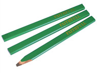 Faithfull FAICPG - Carpenters Pencils - Green / Hard (Pack of 3)