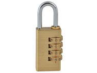Faithfull FAIPLB28COM - Brass Combination Padlock 28mm