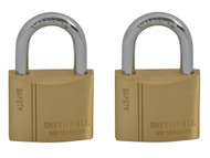 Faithfull FAIPLB40KA - Brass Padlock Keyed Alike 2 x 40mm