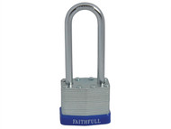 Faithfull FAIPLLAM40LS - Laminated Steel Padlock 40mm Long Shackle 3 Keys