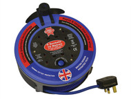 Faithfull Power Plus FPPCR10MPRO - Pro Cable Reel 240V 10 Metre 10A 4 Socket Cut Out