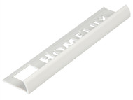 Homelux HOMHTTDWH25 - Tile Trim Homelux PVC Round Edge White 9mm x 2.44m (Box 10)