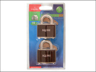 Henry Squire HSQ35T - 35T Stronglock Card (2) Padlocks 38mm Open Shackle Keyed