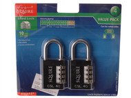 Henry Squire HSQCSL40T - Toughlock Re-Codeable Black Combination Padlock 40mm (Pack of 2)