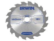 IRWIN IRW1897191 - Circular Saw Blade 160 x 20mm x 18T ATB