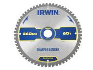 IRWIN IRW1897432 - Construction Circular Saw Blade 260 x 30mm x 60T ATB/Neg M