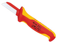 Knipex KPX9854 - Cable Knife VDE Insulated (Back of Blade Insulated)