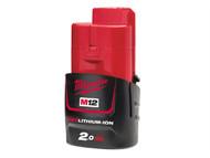 Milwaukee MILM12B2 - M12 B2 REDLITHIUM-ION Battery 12 Volt 2.0Ah Li-Ion