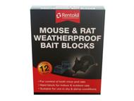 Rentokil RKLFH15 - Mouse & Rat Weatherproof Bait Blocks (12)