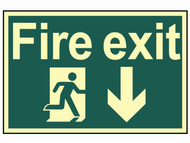 Scan SCA1580 - Fire Exit Running Man Arrow Down - Photoluminescent 300 x 200mm