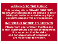 Scan SCA4251 - Building Site Warning To Public And Parents - PVC 600 x 400mm
