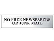 Scan SCA6023C - No Free Newspapers Or Junk Mail - Chrome 200 x 50mm