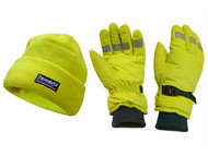 Scan SCAWWHVGLOPK - Hi-Visibility Beanie Hat & Gloves Yellow