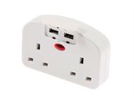 SMJ SMJTUSEUC - European To Twin UK Adaptor With USB Ports