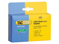Tacwise TAC0349 - 140 Heavy-Duty Staples 14mm (Type T50, G) Pack 2000