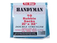 Tristar TRIBS10 - Heavy-Duty Blue Rubble Sacks (10) 20 x 30in