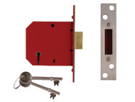 UNION UNNJ2101PL25 - 2101 5 Lever Mortice Deadlock Satin Brass Finish 65mm 2.5in Box